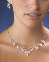 Pearl Drop Necklace And Earrings Set